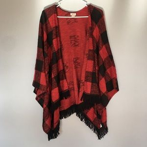 Mossimo Black & Red Checkered Cardigan Size S